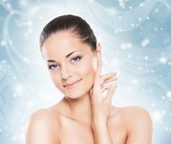 Winter portrait of young and beautiful woman. royalty free stock image