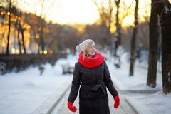 Winter portrait of young beautiful woman Royalty Free Stock Photography