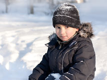 Winter portrait of young cute boy Stock Images