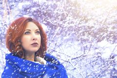 Portrait of a woman in a cold winter. royalty free stock photo
