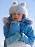 Winter portrait of young girl Stock Photos