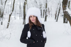 Winter Portrait. Of a young girl in the forest Stock Images