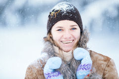 Winter portrait of young happy woman. Royalty Free Stock Photos