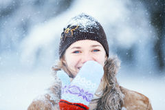 Winter portrait of young happy woman. Stock Image