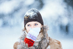 Winter portrait of young happy woman. Royalty Free Stock Photo