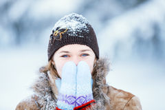 Winter portrait of young happy woman. Royalty Free Stock Image