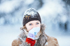 Winter portrait of young happy woman. Stock Photography