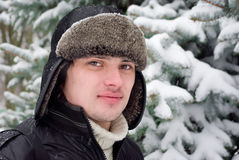 Winter portrait of young man stock photography