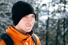 Winter portrait of a young man Stock Photography