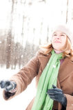 Winter portrait of young woman Royalty Free Stock Photos