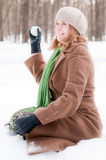 Winter portrait of young woman Stock Images