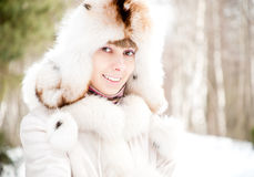 Winter portrait of young woman Royalty Free Stock Images