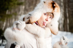Winter portrait of young woman Royalty Free Stock Image