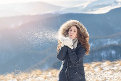 Winter portrait of a young woman Royalty Free Stock Images