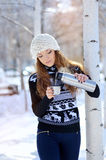 Winter portrait of young woman in fur hat.  Stock Image