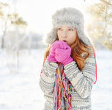 Winter portrait of young woman in fur hat Stock Images