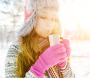 Winter portrait of young woman in fur hat Stock Image