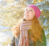 Winter portrait of young woman in fur hat Royalty Free Stock Photography