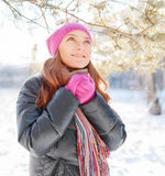 Winter portrait of young woman in fur hat Stock Photo