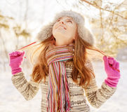 Winter portrait of young woman in fur hat Royalty Free Stock Photo