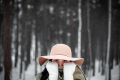 Winter portrait of a young woman Stock Photo