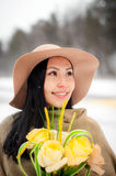 Winter portrait of a young woman Royalty Free Stock Photography