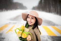 Winter portrait of a young woman Stock Images