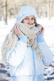 Winter Portrait of Young Woman Outdoor Royalty Free Stock Photos