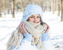 Winter Portrait of Young Woman Outdoor Royalty Free Stock Image