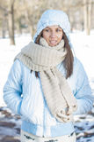 Winter Portrait of Young Woman Outdoor Royalty Free Stock Photo