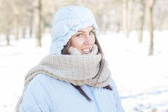 Winter Portrait of Young Woman Outdoor Stock Images