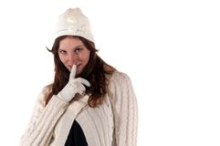 Winter portrait of a young women with glove Stock Photo