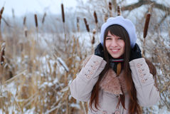 Winter portraits beautiful girl Royalty Free Stock Image