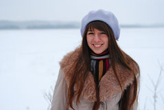 Winter portraits beautiful girl Stock Photo