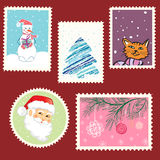 Winter postage set Royalty Free Stock Photos