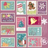 Winter postage set. With snowman, gingerbread, reindeer and other popular items Royalty Free Stock Photo