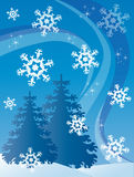 Winter postcard. Blue postcard with white fir tree and snowflake. Vector illustration Royalty Free Stock Images