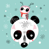 Winter postcard of a panda and owl Stock Images