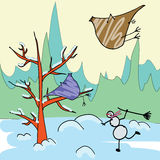 Winter postcard. Postcard for a winter theme. Snowman and some birds Royalty Free Stock Images
