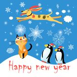Winter Postcard With A Cat Dog And Penguins Stock Images