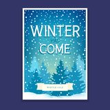 Winter Poster with Spruces. Winter Poster, Flyer with Spruces and Text Winter has Come, Christmas Final Sale, Vector Illustration Stock Images