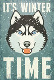 Winter Poster with Husky. Vector illustration, eps10. Stock Images