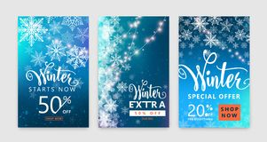 Winter poster set. Color sale background design with christmas snow, snowflake. Winter poster set. Colorful sale background design with christmas snow and Stock Image