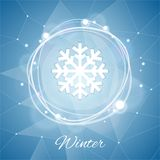 Winter Poster with Snowflake on Geometric Royalty Free Stock Image