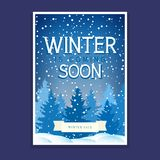 Winter Poster with Spruces and Snowflakes. Winter Poster, Flyer with Spruces and Snowflakes, Text Winter is Coming Soon, Christmas Final Sale, Vector Stock Image