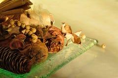 Winter pot pourri on glass dish Stock Images