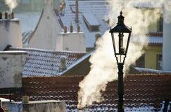 Winter-Prag-Straßenbeleuchtung Stockbild