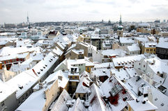 Winter Prague. View on snowy Prague rooftops stock image