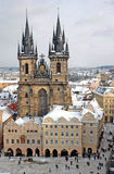 Winter Prague. Staromesky square view royalty free stock photo