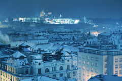 Winter Prague, the Castle and St. Vitus Cathedral. Czech Republic Royalty Free Stock Photo